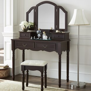 Darby Home Co Felda Elegant Dressing Vanity Set with Mirror