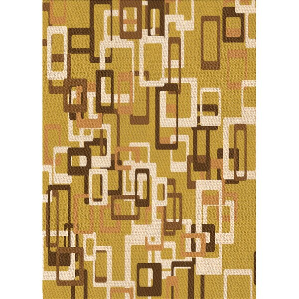 East Urban Home Geometric Wool Yellow Brown Area Rug Wayfair