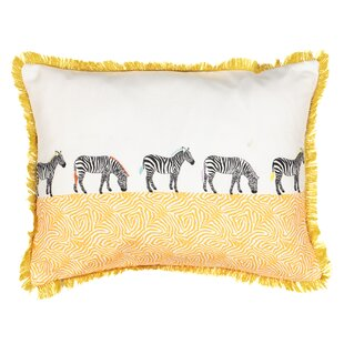 Spree Wild Life Embroidered Zebra Lumbar Pillow