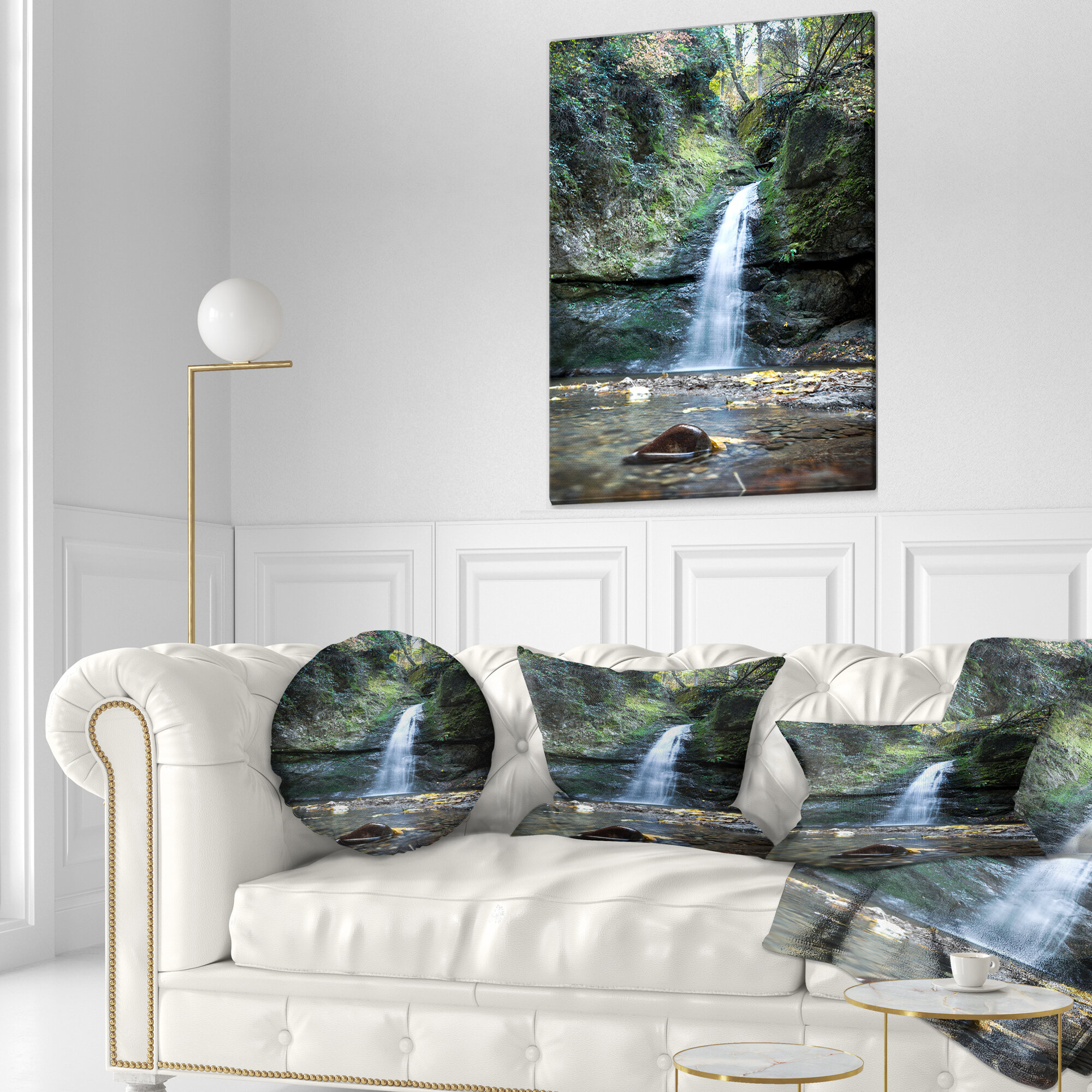East Urban Home Designart Nanayo Waterfall Japan Landscape Photo Throw