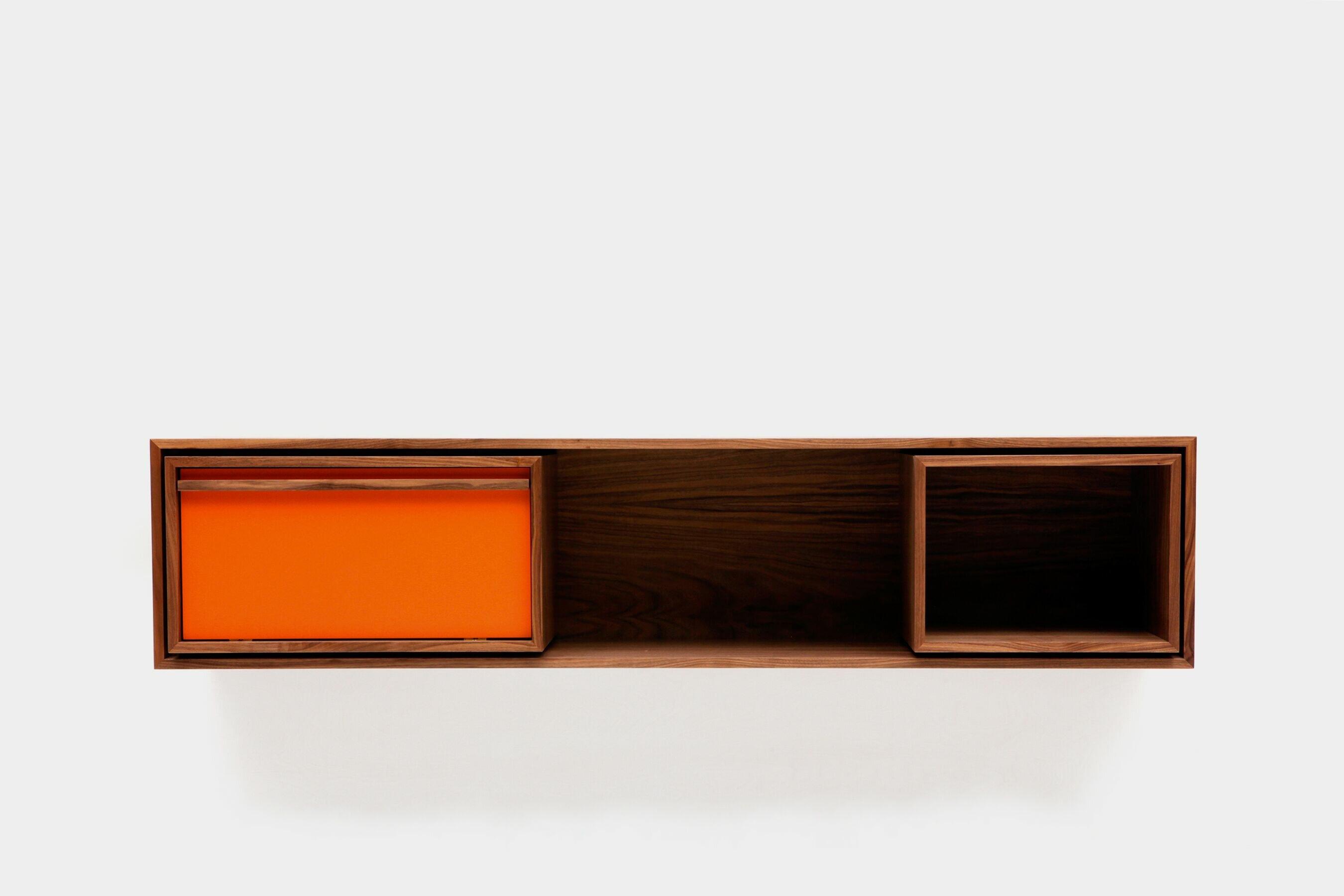 orange wall display shelves c a3923