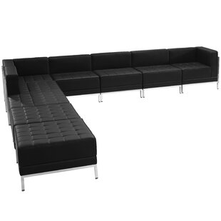 Bouffard Black Leather Sectional Configuration, 9 Pieces