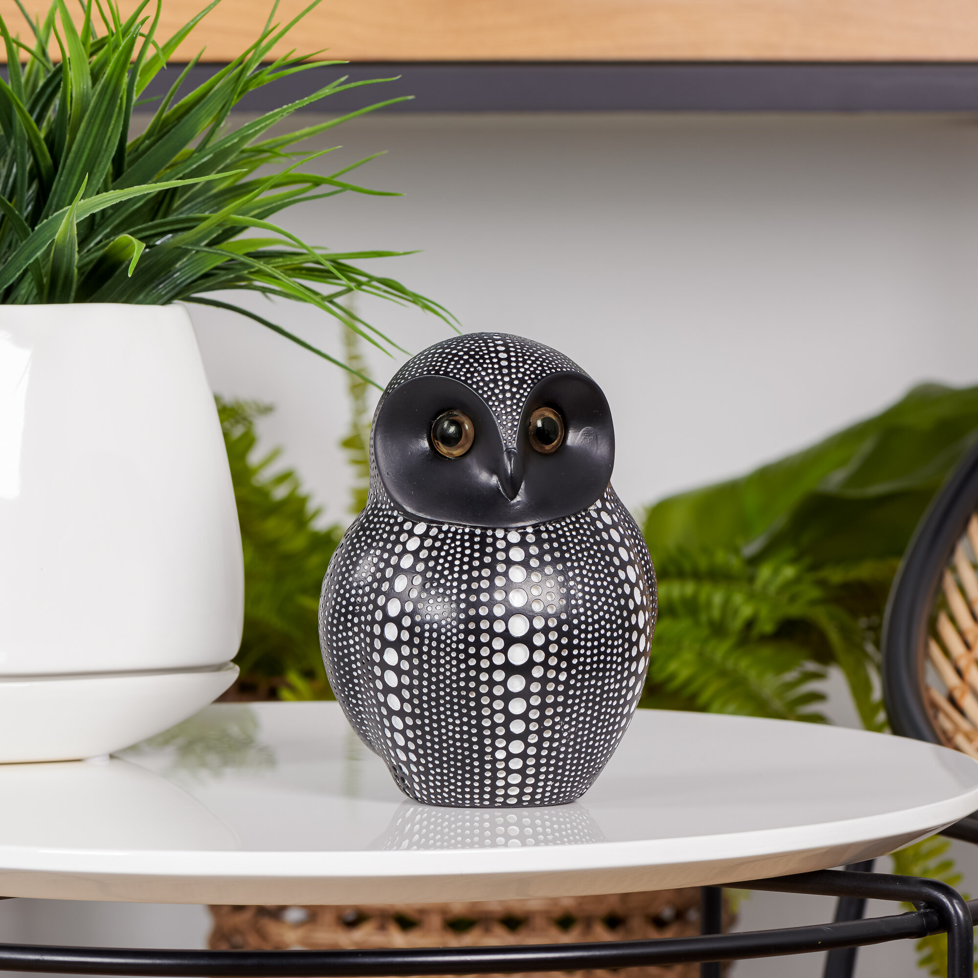 Black White Resin Debossed Dotted Sitting Bird Collectible Contemporary Design