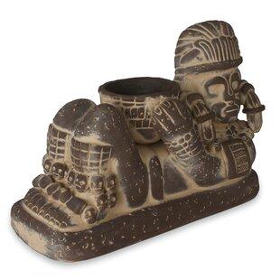 7aa89e895ca1fd Angel Cerón Aztec Chac Mool Ceramic Sculpture