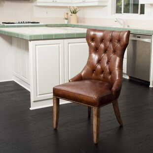 Orosco Genuine Leather Upholstered Dining Chair by Millwood Pines Discountt