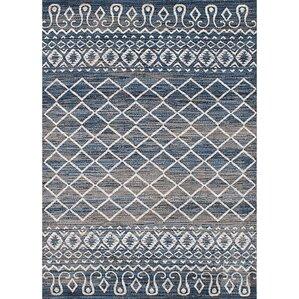 navy blue and grey area rug | wayfair