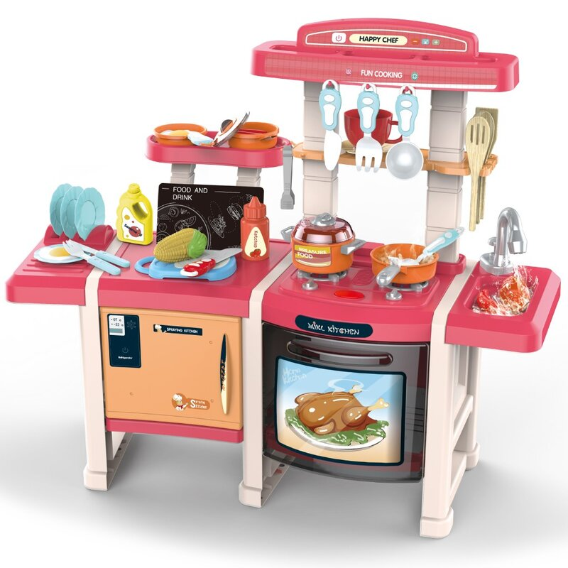 Kitchen Playset Role Play kid Toy With Real Cooking And Water Boiling Sounds-Boy