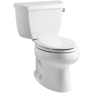 Kohler Wellworth Classic Two-Piece Elongated 1.28 GPF Toilet with Class Five Flush Technology, Right-Hand Trip Lever and Tank Cover Locks