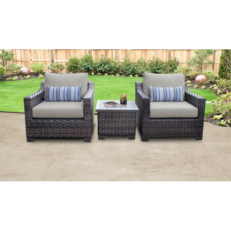 Kathy Ireland Homes Gardens By Tk Classics River Brook 3 Piece Rattan Seating Group With Cushions Reviews Wayfair