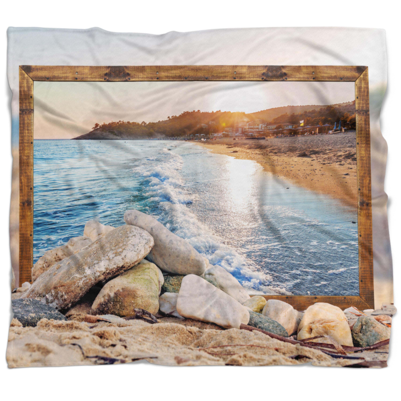 East Urban Home Seashore Framed Effect Rocky Beach Blanket Wayfair