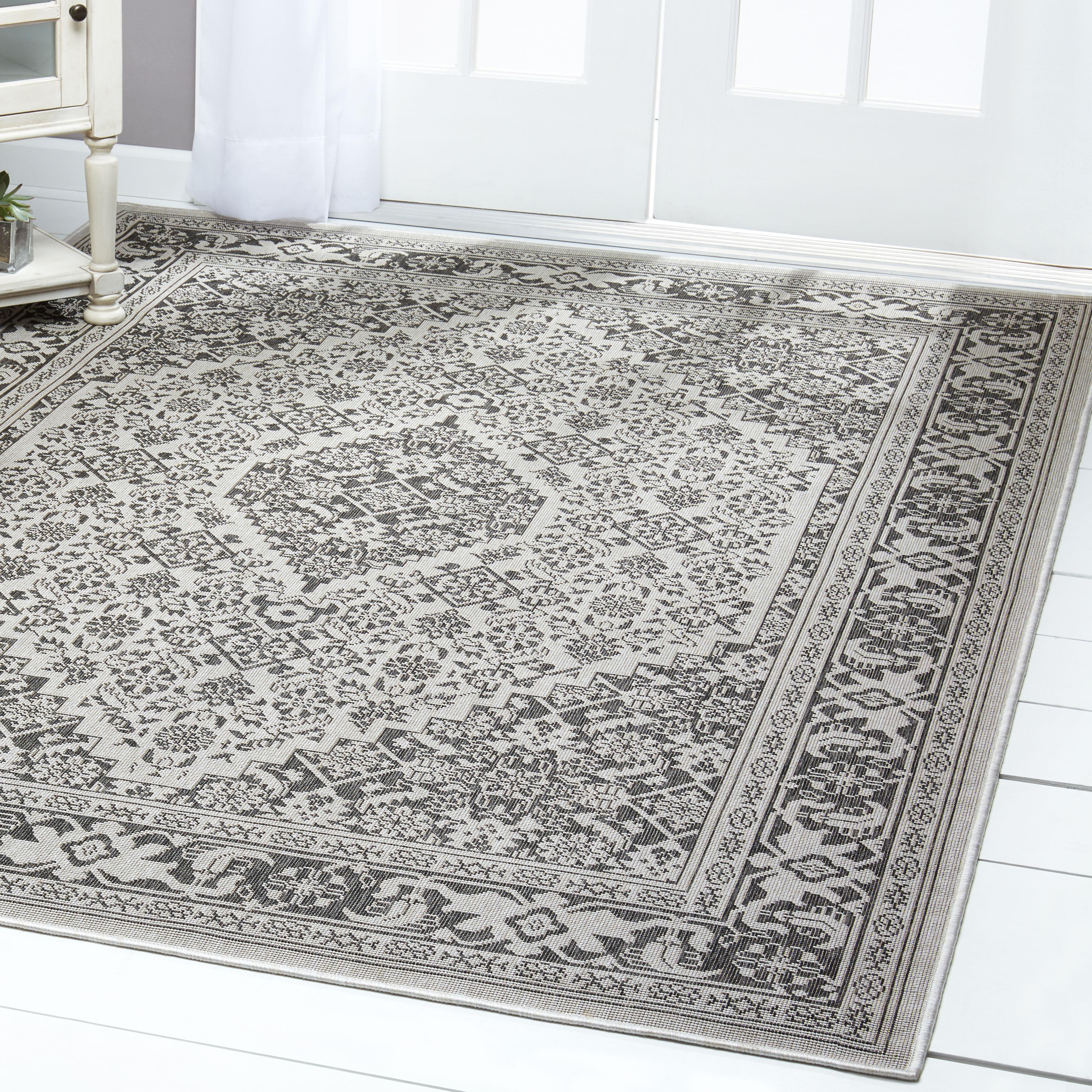 Patio Country Grey Black Persian Indoor Outdoor Rug