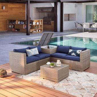 Brayden Studio Vankirk 4 Piece Sectional Seating Group With Cushions Reviews Wayfair Ca