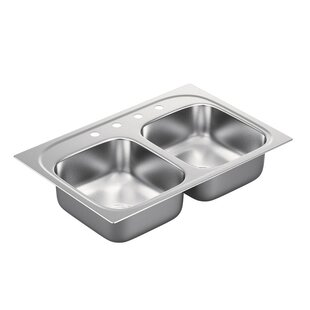 Moen 1800 Series Stainless Steel 4 Hole Double Bowl 33