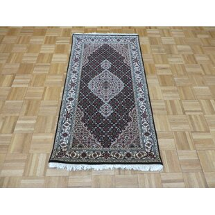 Price comparison One-of-a-Kind Beaton Hand-Knotted Wool Black Area Rug By Isabelline