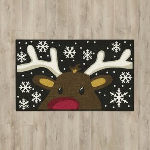 Reindeer Black/White Area Rug By The Holiday Aisle