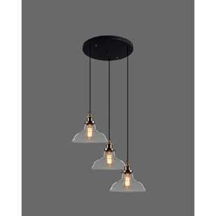 Cordes 3-Light Cascade Pendant by Charlton Home