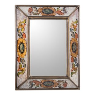 Bloomsbury Market Pinehill Floral Medallions Reverse Painted Glass Wall Mirror