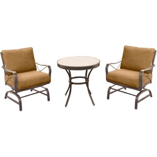 Rhonda 3 Piece Round Bistro Set with Cushions