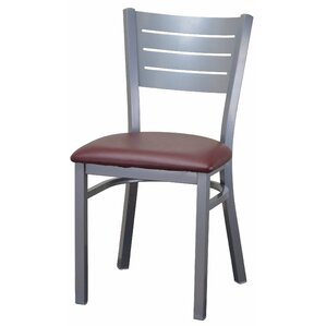 Wide Slat Steel Ladder Back Upholstered Dining Chair by DHC Furniture