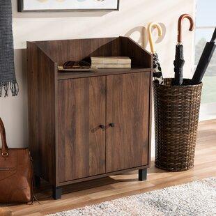 Union Rustic 2-Door Wood Entryway 8 Pair Shoe Storage Cabinet