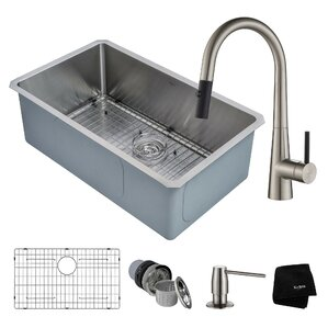 Kraus Handmade Series 30� x 18� Undermount Kitchen Sink with Faucet and Soap Dispenser