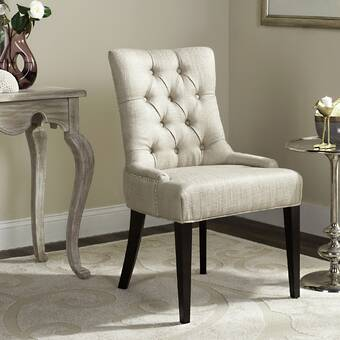 Ophelia Co Valerio Tufted Fabric Upholstered Wingback Side Chair In Beige Brown Wayfair