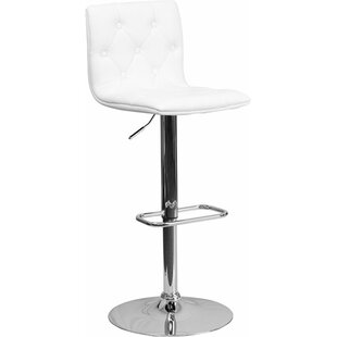 Outen Mid Back Tufted Adjustable Height Swivel Bar Stool Wrought Studio