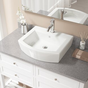 MR Direct Specialty Vitreous China Specialty Vessel Bathroom Sink with Faucet and Overflow