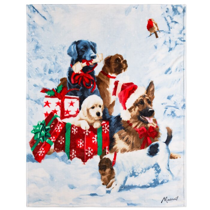 Christmas Puppies.Etienne Christmas Gift Puppies Ultra Soft Throw