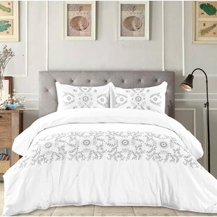 Bungalow Rose Coston Embroidered Cotton Duvet Set