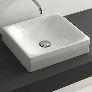 WS Bath Collections Minimal Ceramic Rectangular Vessel Bathroom Sink with Overflow