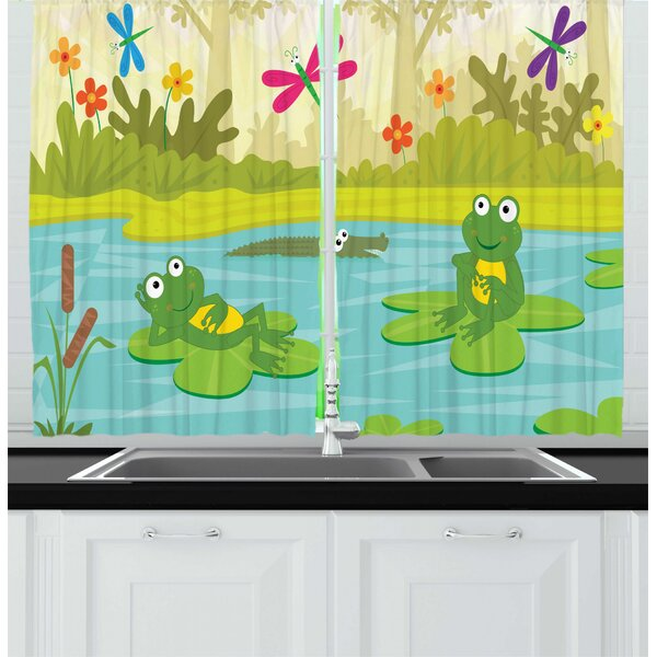 East Urban Home 2 Piece Cartoon Digitally Generated Interpretation Of Frogs And A Crocodile In A Pond Kitchen Curtain Set Wayfair