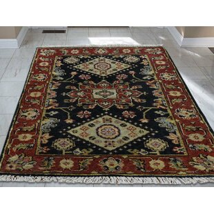 Reviews One-of-a-Kind Flynn Design Hand-Knotted 2' x 3' Wool Red/Black Area Rug By Isabelline