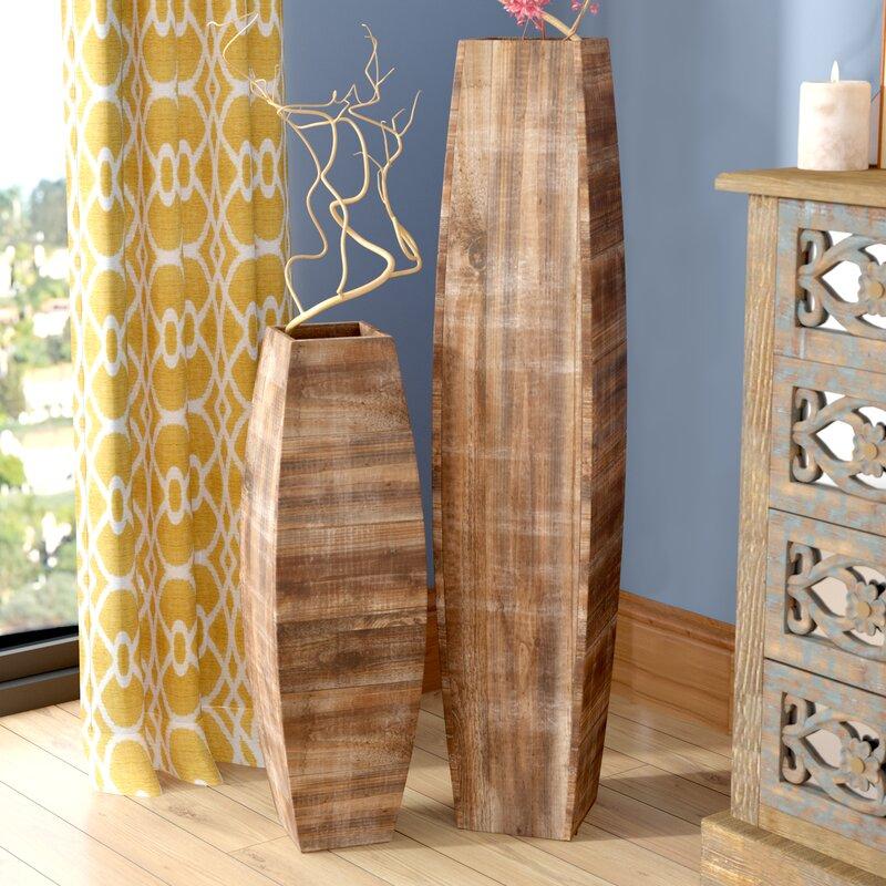 Bloomsbury Market Thole Oblong Wooden 2 Piece Table Vase Set