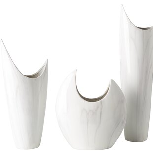 3 Piece White Ceramic Table Vase Set