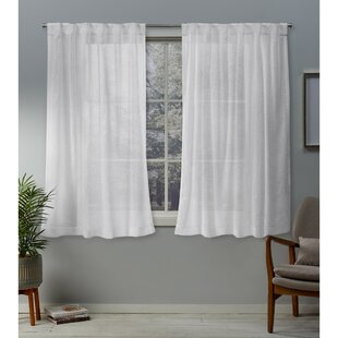 Mirfield Solid Color Sheer Tab Top Curtain Panels (Set of 2) by Highland Dunes