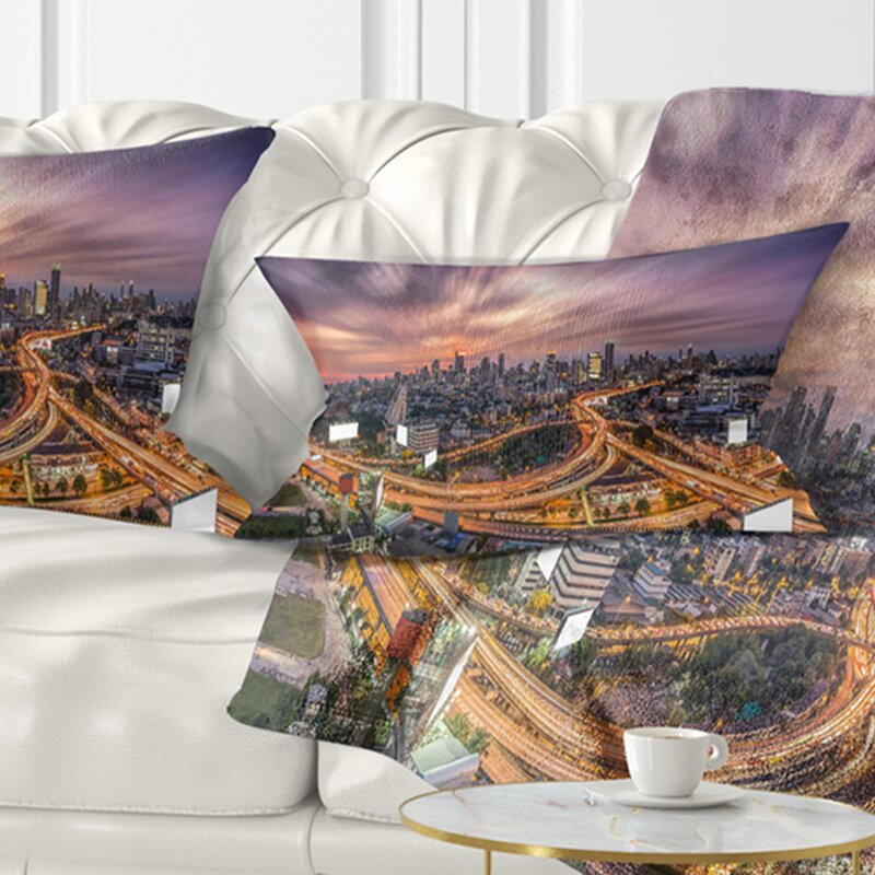 East Urban Home Cityscape Bangkok S Shaped Express Way Lumbar Pillow Wayfair