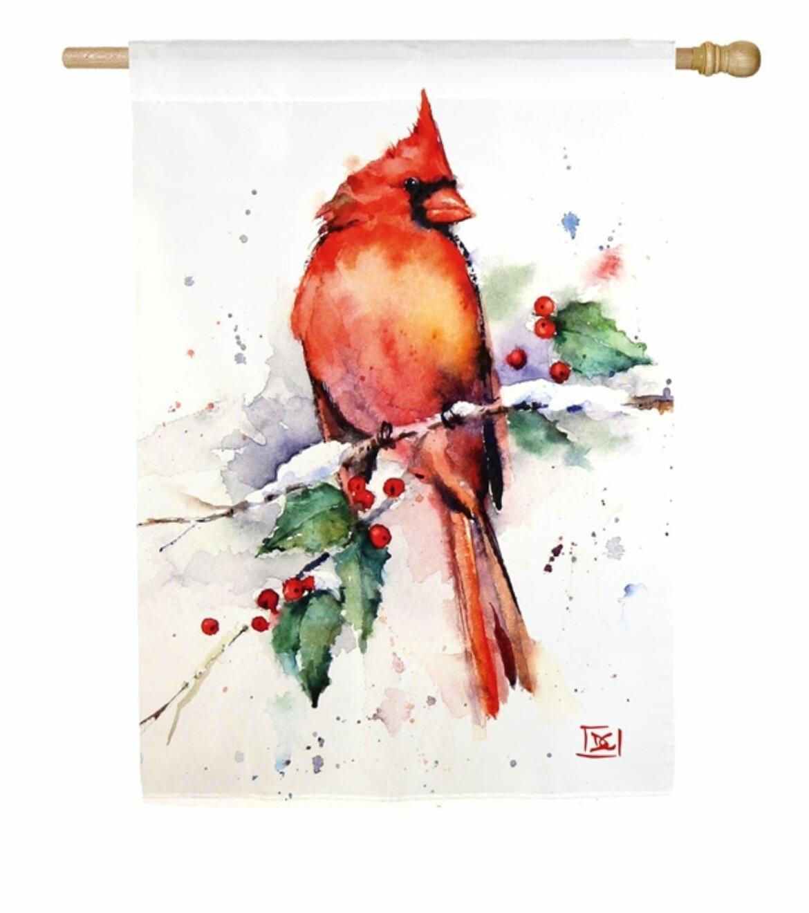 Evergreen Enterprises Inc Cardinal And Holly 2 Sided Polyester 20 X 12 House Flag Wayfair