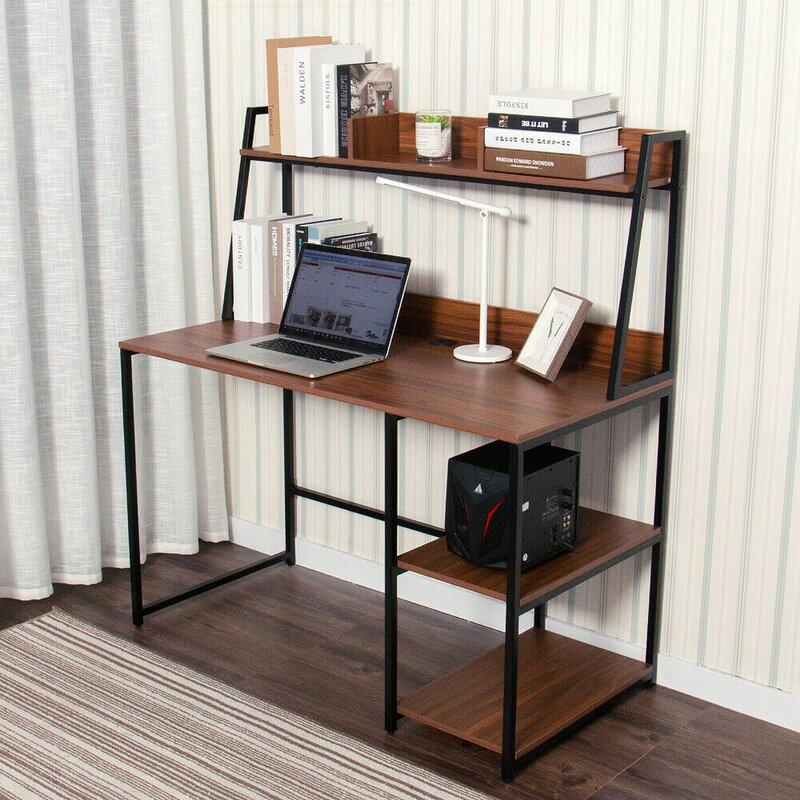 Ebern Designs Computer Desk With 2 Tier Storage Shelves Reviews Wayfair