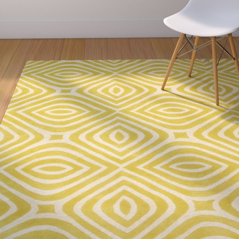 Corrigan Studio Marley Geometric Wool Yellow Area Rug Reviews Wayfair