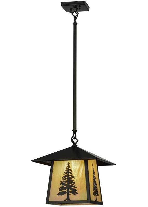 Honor Of Meyda Tiffany Greenbriar Oak 1 Light Lantern Geometric Pendant