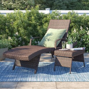 Benoit Adjustable Wicker Chaise Lounge and Table Set
