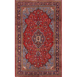 One-of-a-Kind Doughty Traditional Floral Sarouk Persian Hand-Knotted 6'9 x 11'3 Wool Red/Black/Blue Area Rug Isabelline