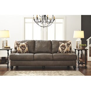 McDonald Queen Leather Sleeper Sofa Darby Home Co