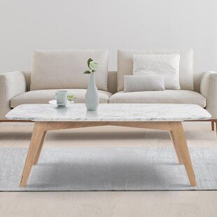 Hilma Rectangular Italian Carrara White Marble Table Coffee Table By Ivy Bronx