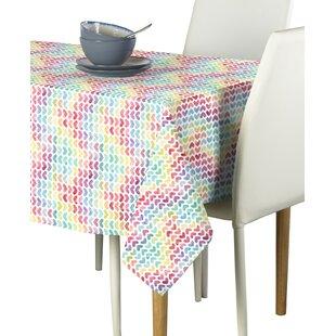 Mccay Watercolor Hearts Tablecloth by Latitude Run Fresh