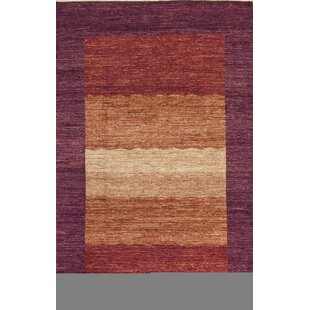 Affordable One-of-a-Kind Gabbeh Hand-Knotted Wool Purple/Burnt Orange Area Rug By Bokara Rug Co., Inc.
