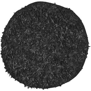 Dane Hand-Knotted Black Area Rug by Ebern Designs