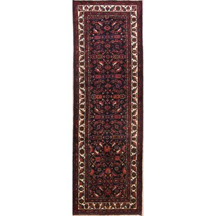One-of-a-Kind Mcmillon Geometric Malayer Hamadan Persian Traditional Hand-Knotted Runner 3'6 x 10'11 Wool Black/Blue/Red Area Rug Isabelline