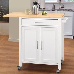 Vina Kitchen Island with Wood Top by Highland Dunes